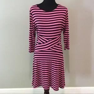 ECI New York pink and black striped dress XL